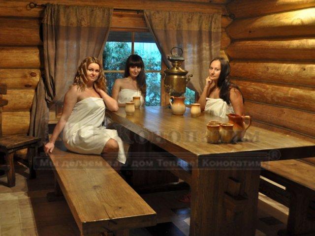 Фото интерьера комнаты отдыха и внутренняя конопатка сруба бани ручной рубки у метро Озерки.