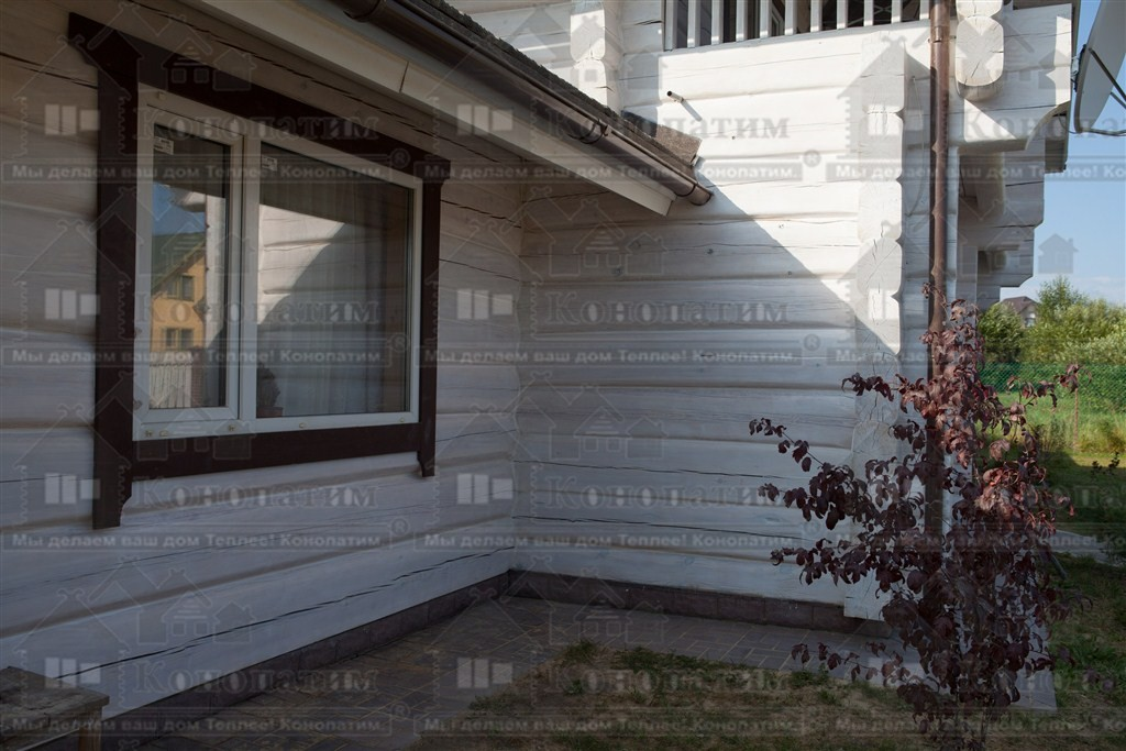 Фото-покраска и теплый шов внешних стен сруба норвежской рубки в пос. Лебяжье.